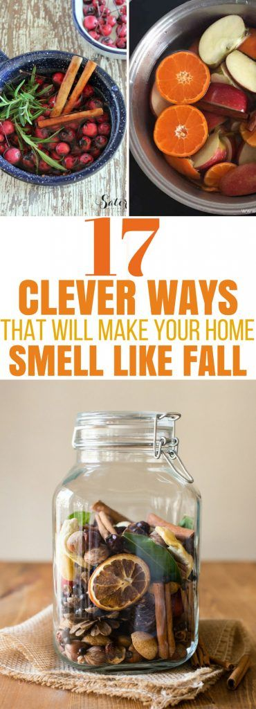 Try these GENIUS ways to make your home smell like Fall! DIY an air freshener, use essential oils, make simmer pots in a crockpot, try making pumpkin spice candles or potpourri. So many fabulous ideas!