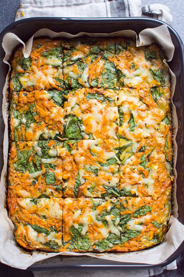 Sweet Potato Egg Casserole Recipe with sweet potato hash browns, spinach, eggs, cheese, taco seasoning and eggs for a healthy vegetarian make ahead breakfast or a meal prep.
