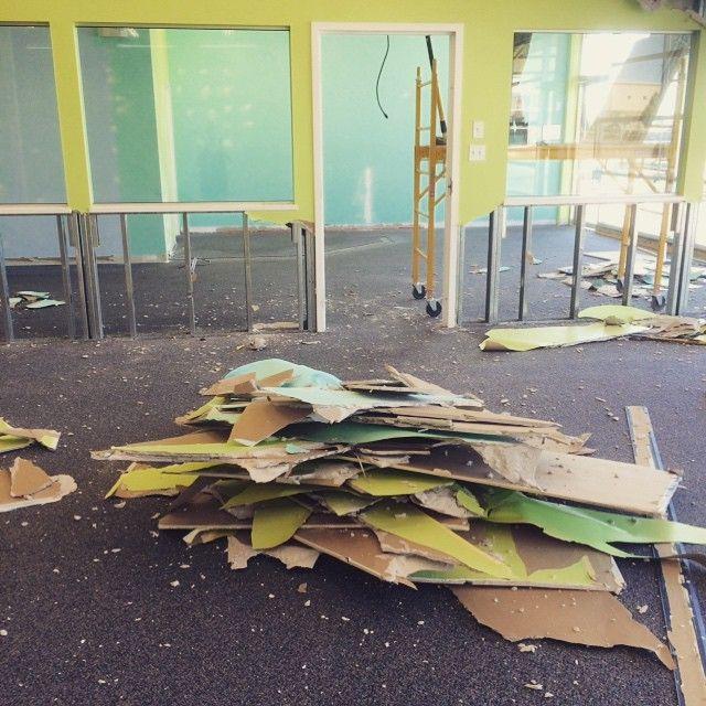 Unika Langley is beginning to take shape! Good bye wall! #renovation #unika #unikalife #newstore