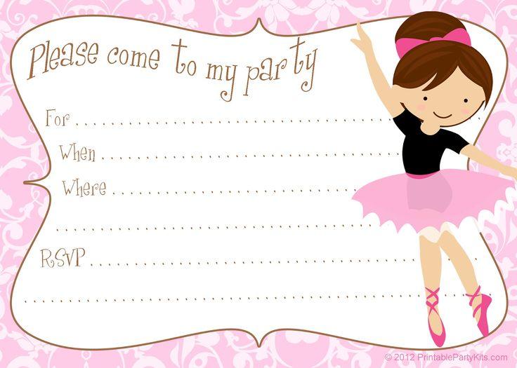 Printable free ballerina party invitations