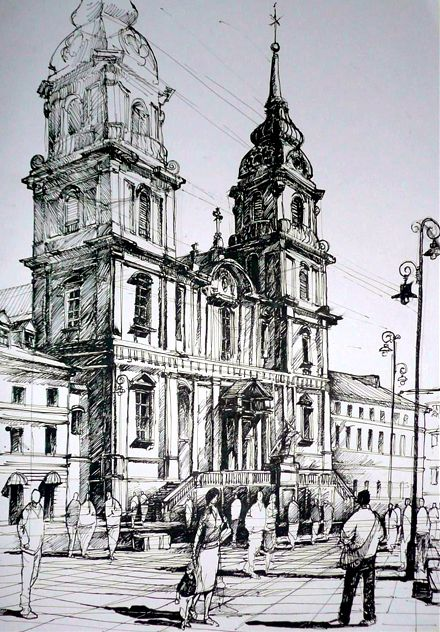 drawing by Rafał Rudko I really like this drawing because it look very professionally and effective. I would like to make a similar drawing of Belfast city Hall and use some ink black pen to make more attractive.