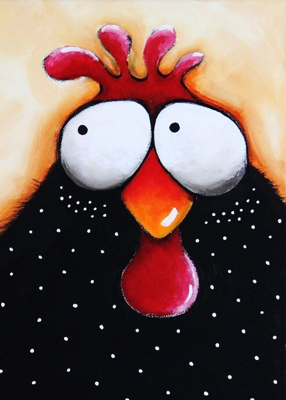 ACEO Print Folk Art illustration whimsical bird painting chicken soup  #IllustrationArt