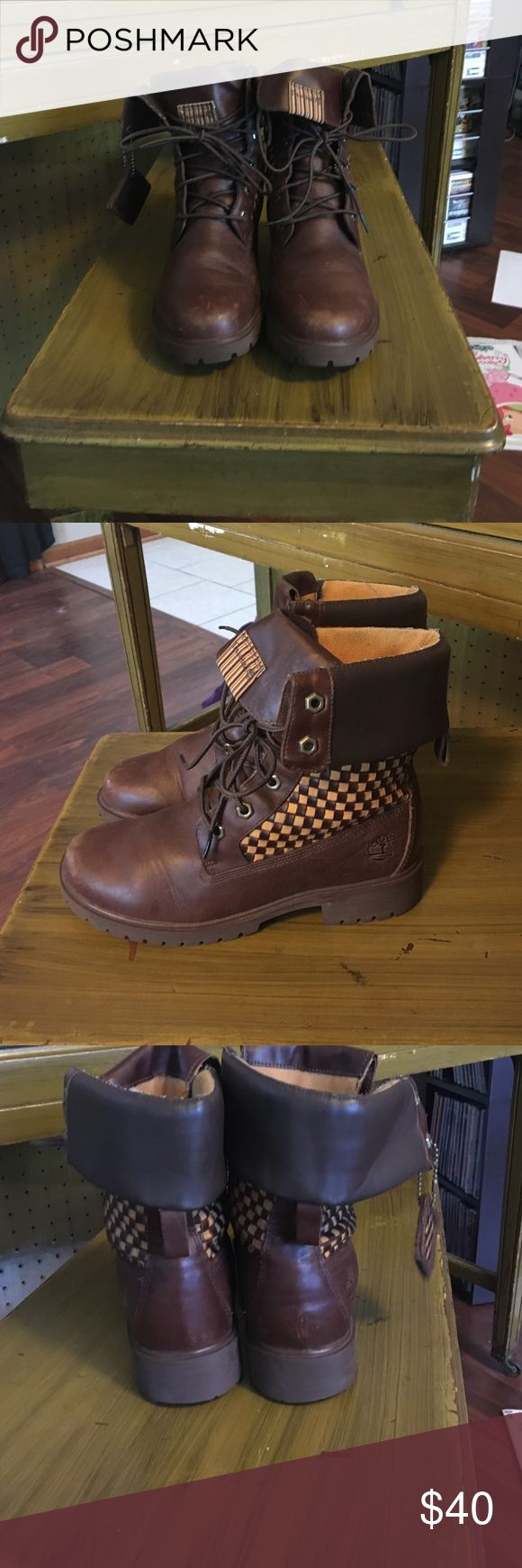 Timberland boots Brown Timberland boots with a checkered pattern Timberland Shoes Combat & Moto Boots