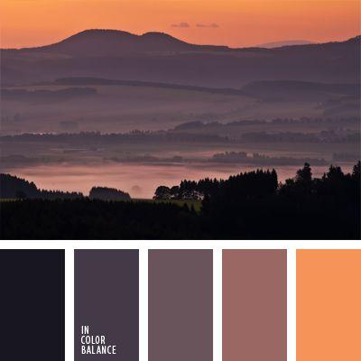 The color palette number 986  amethyst color, purple color, honey-orange, orange, color matching, gray-purple, lilac, dark blue, dark purple, dull purple, violet and orange, the color of honey,
