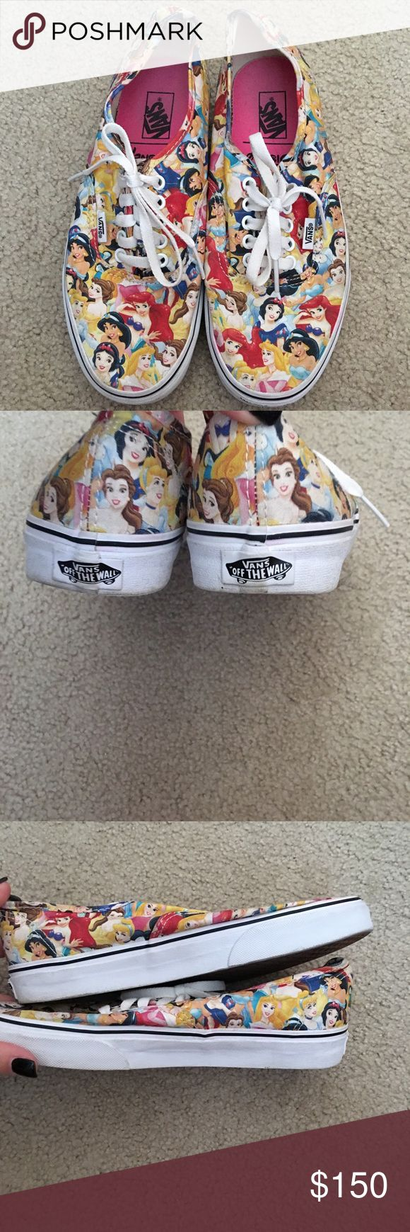 Disney Princess Vans! Mens 7.5, womens 9. Worn probably 5 times. There are some marks/skuffs throughout. I'm only selling them because they no longer fit. Reasonable offers are welcomed but lowballs will be ignored. These were limited edition and are no longer available, so please keep that in mind when sending over offers! No trades. Vans Shoes
