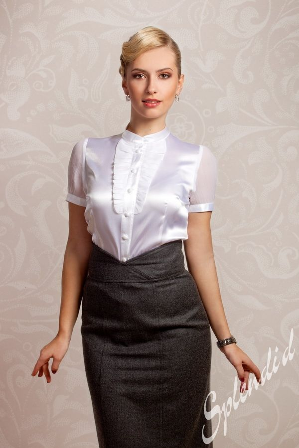 Have Busty office white blouse russian