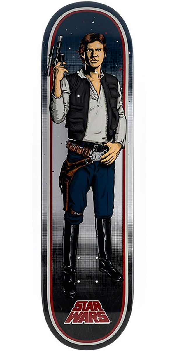 """Star Wars Han Solo Skateboard Deck - 8.26"""" Santa Cruz and Lucasfilm have teamed up for the most epic collab in the history of the universe. Known for some of the most iconic graphics in skateboarding history, Santa Cruz created original illustrated graphics of classic Star Wars characters and slapped them on their decks resulting in the Santa Cruz x Star Wars collab skateboard decks."""
