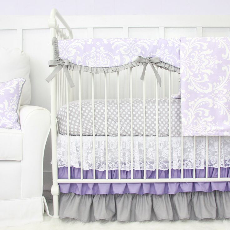 Lavender Sweet Lace Damask Bumperless Baby Bedding | Purple and Gray Crib Bedding 2 or 3 Pc Set by CadenLaneBabyBedding on Etsy https://www.etsy.com/listing/265137092/lavender-sweet-lace-damask-bumperless
