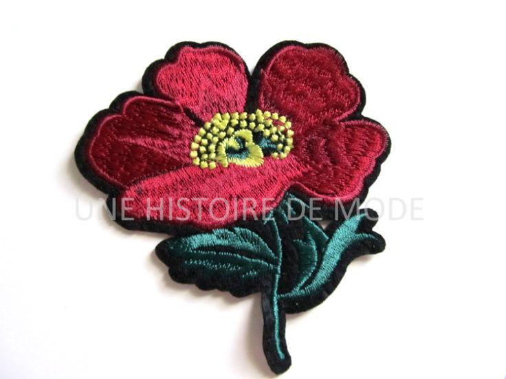 Patch , écusson thermocollant fleur bordeaux avec feuilles à coudre ou repasser 95 x 85 mm - applique fleur couture - écusson fleur : Déco, Customisation Textile par une-histoire-de-mode