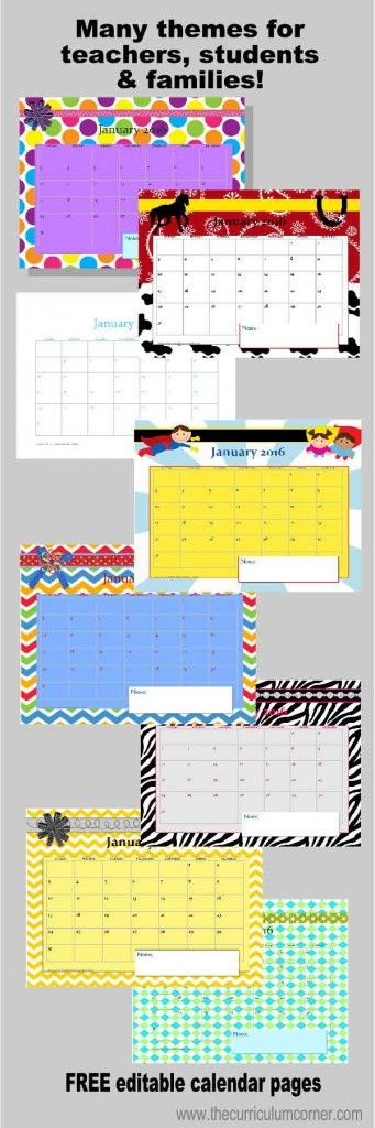 Editable Calendar Pages for our Teacher Planning Binder FREE from The Curriculum Corner | Many Themes