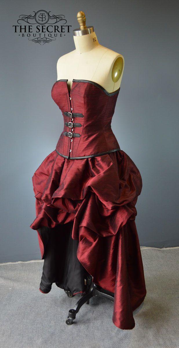 """Steampunk buckle dress-""""Crimson"""" - The Secret Boutique"""