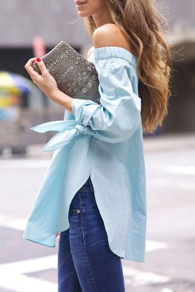 Sweet Off-The-Shoulder Long Sleeve Tie-Up Side Slit Women's Blouse BLUE: Blouses | ZAFUL