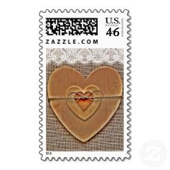 Burlap and Lace Print Wooden Hearts Custom Wedding Postage Stamps (any postage rate needed) - Rustic Country Wedding Invitations