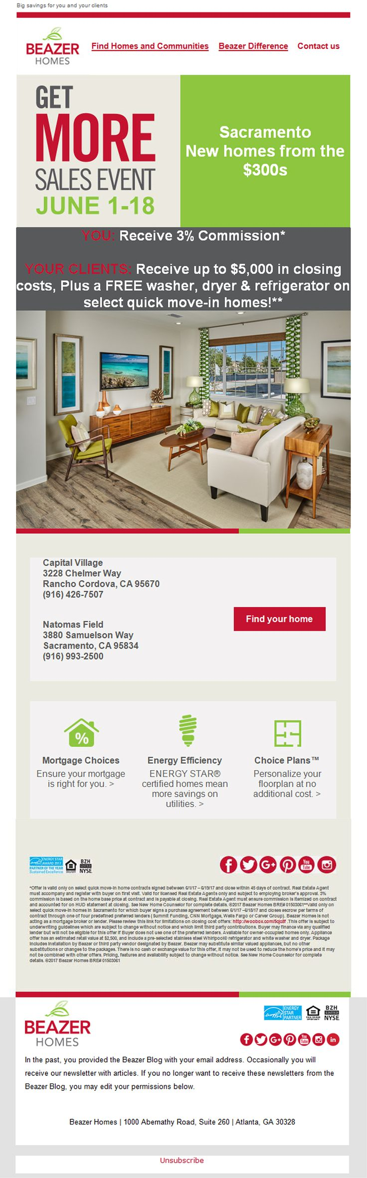 New Homes for Sale in Sacramento  Beazer's Get More Sales Event is Here!  Broker's Welcome  |  June 1 - 18  |  3% Commission  |  Clients Receive up to $5,000 in Closing Costs, Plus a FREE Washer, Dryer & Refrigerator on Select Quick Move-In Homes!  https://www.beazer.com/searchinventory-CA-sacramento
