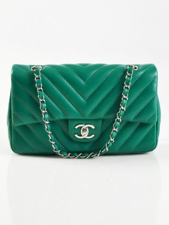 Chanel Green Quilted Lambskin Classic Chevron Medium Flap Bag - Pursehop