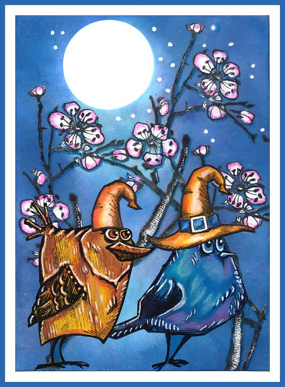 """Crazy Birds Moon Walk in Partner Look"", created with Molotow... | anjas-artefaktotum | Bloglovin'"