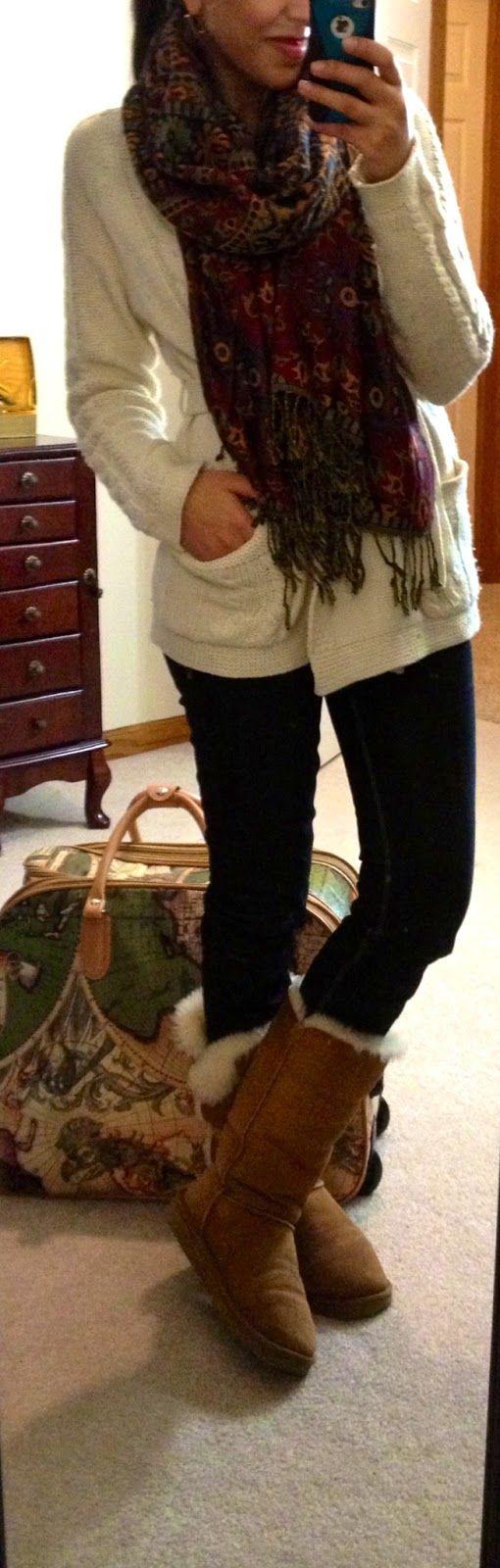 F21 Wrap Sweater Express Zelda Skinny Jeans Ugg Bailey