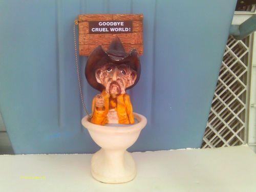 Cowboy bathroom decor - Large Goodbye Cruel World Cowboy Figure Flushing Himself Down A Toilet
