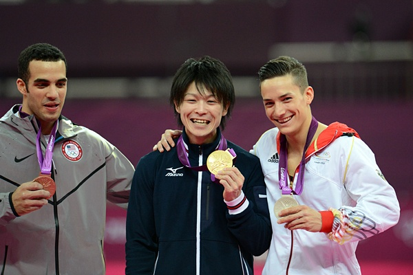 All they are smiling! London 2012@グエン(独)、レイバ(米)と内村航平。~ロンドン五輪2012~