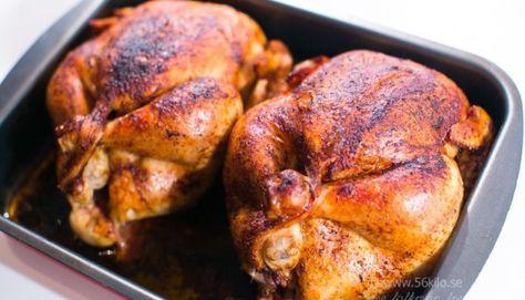 Grillad hel kyckling med äpplegräddsås