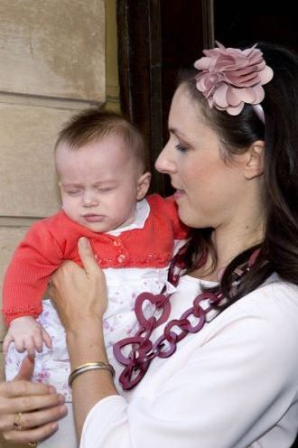 Princess Viktoria of Bourbon-Parma and Princess Gloria Irene of Bourbon-Parma during baptism of Prince Carlos Enrique Leonard, Hereditary Prince of Parma, at the cathedral of Parma, Italy on 25 September 2016
