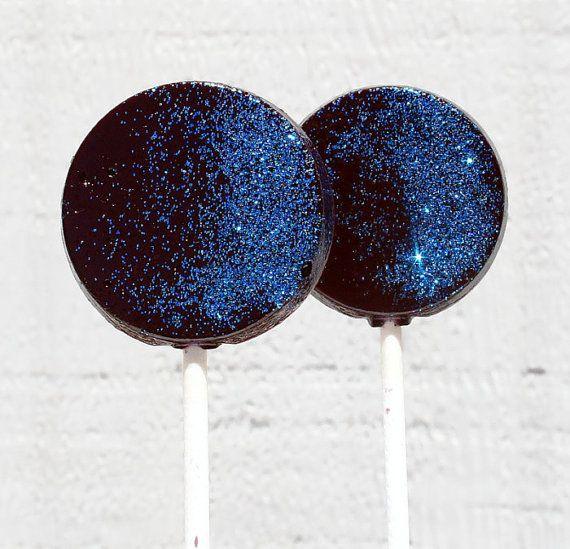 Black and Blue Wedding Favor Lollipops  Flat Round by SmashCandies