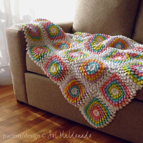 Blanket crochet pattern Yummy Flower granny square by bySol