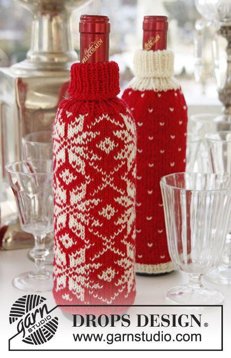 Fundas para botellas DROPS, para Navidad, tejidas con patrón de jacquard noruego en Fabel o Flora. Patrón gratuito de DROPS Design.