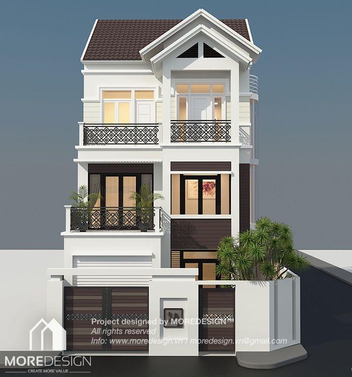 Công trình: Thiết kế nhà mặt tiền 7,5m 3 tầng theo phong cách kiến trúc bán cổ điển, với mái kiểu Thái nhẹ nhàng và thanh thoát. Màu sắc trang nhã, ấm cúng, tạo nên vẻ thân thiện mà không kém phần nổi bật cho công trình NHÀ PHỐ: Ngôi nhà nổi bật với tông màu …