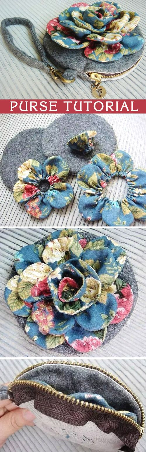 How to make tutorial vintage flower cosmetic bag purse fabric sewing quilt patchwork applique. http://www.handmadiya.com/2015/10/vintage-flower-purse-tutorial.html