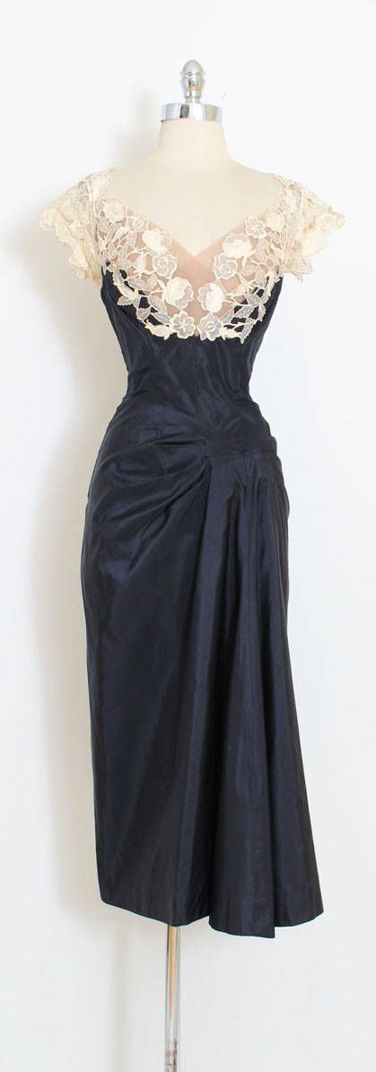 ➳ vintage 1950s dress * stunning Philip Hulitar dress * deep blue silk taffeta * gorgeous tulle and lace illusion bodice * waterfall drape at left hip * metal side zipper condition | excellent fits like small length 48 bodice 17 bust 36-38 waist 27 ➳ shop http://www.etsy.com/shop/millstreetvintage?ref=si_shop ➳ shop policies http://www.etsy.com/shop/millstreetvintage/policy twitter | MillStVintage facebook | millstreetvintage instagram | ...