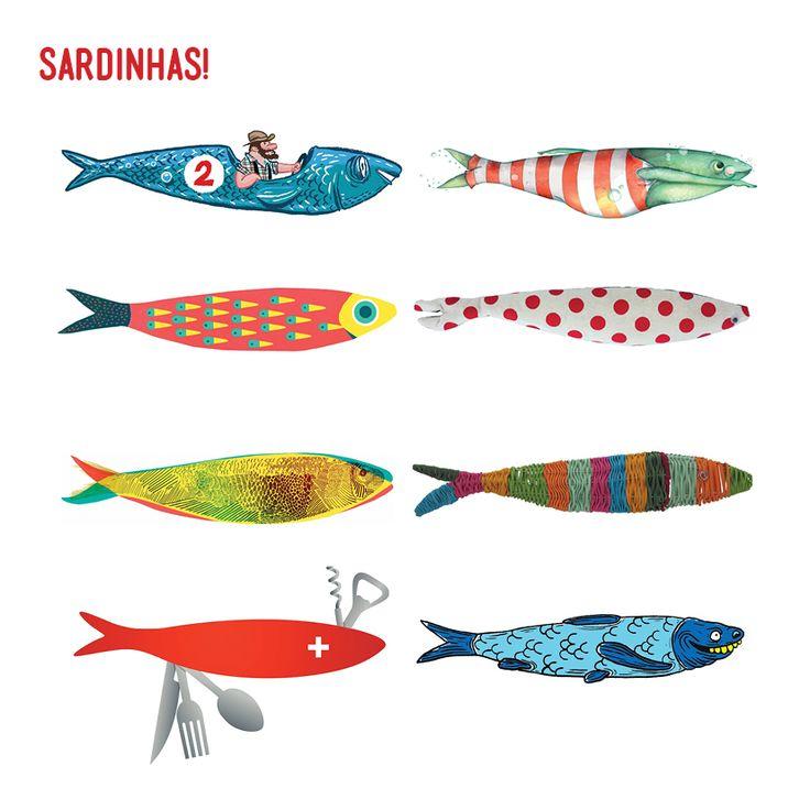 Una sardina lo es todo! Uma Sardinha é tudo! Sardines are the whole! / Festasdelisboa / Fiestas de Lisboa / Lisbon / Illustrations of sardines