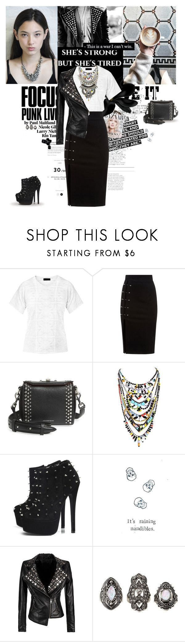 """Time for the punk glam!"" by karliuxxx ❤ liked on Polyvore featuring Burberry, Alexander McQueen, Tom Binns, AX Paris, Charlotte Russe and Chanel"