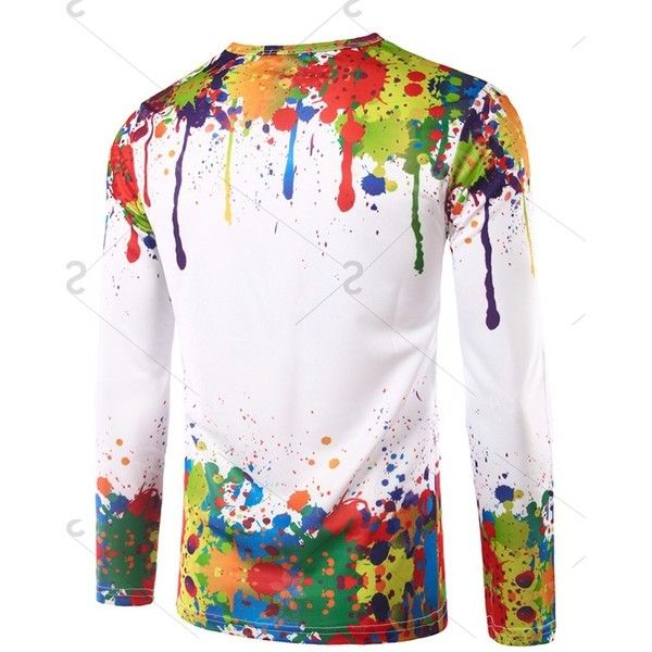 Long Sleeves Colorful Splatter Paint Printing T-Shirt ❤ liked on Polyvore featuring tops, t-shirts, multi colored t shirts, long sleeve tees, splatter t shirt, multicolor t shirt and longsleeve t shirts