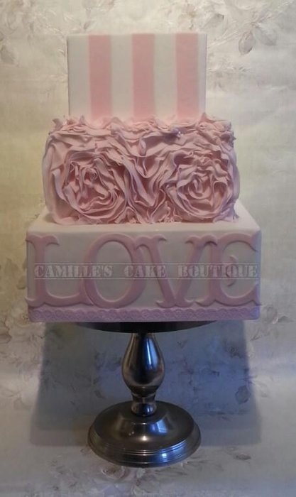 Candy Stripes and Ruffles - by camillescakeboutique @ CakesDecor.com - cake decorating website