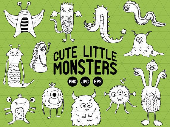 Cute Monster Clipart, Cute Monster Doodles, Cute Monster Clipart, Monster Vector Clipart, Little Monster Doodles, Alien Clipart,  This listing is for a clipart set of 12 digitally hand drawn Monster design elements. Can be used digitally or in print. Perfect for invitation design, scrapbooking, cardmaking, stickers, announcement cards, blogs, digital stamps, greeting cards, web design, decorations or anything! ≈≈≈≈≈≈≈≈≈≈≈≈≈≈≈ WHAT YOU GET: ≈≈≈≈≈≈≈≈≈≈≈≈≈≈≈  • 12 PNG files + 12 JPG files + 1…