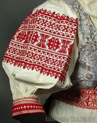 SLOVAK FOLK COSTUME Trencin regional kroj embroidered blouse beaded headdress
