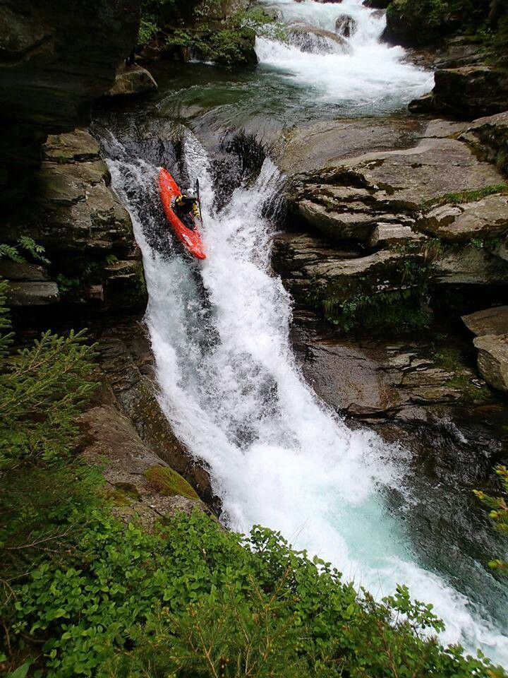 Don't try this at home, or do... Come explore the outdoors with us - The Kayak Academy.   White water kayak, river, waterfall, paddle, outdoors, adventure, The Kayak Academy
