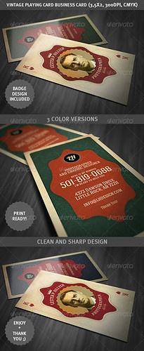vintage playing card - business card - graphicriver item for sale