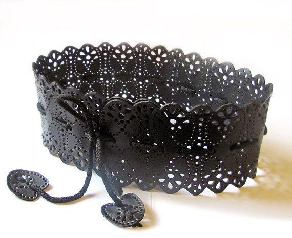 Wide black leather belt Black obi belt Leather & by erikasbelts 98.00