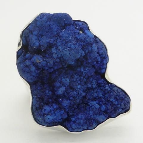 Azurite Crystal Cluster Ring | 925 Sterling Silver Setting | Australian Supplier