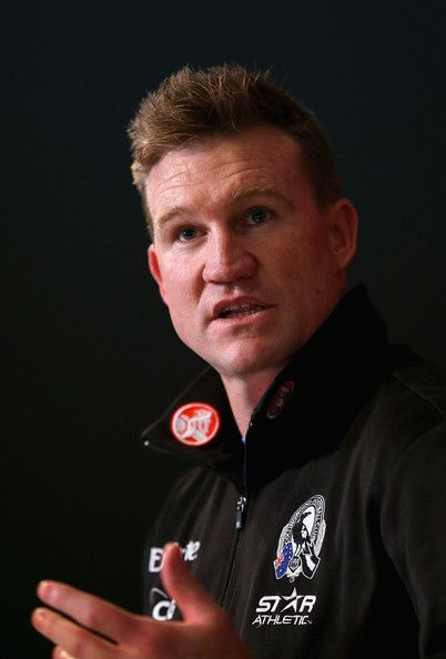 Nathan Buckley the coach of the Magpies speaks to the media during a Collingwood Magpies AFL media session at Olympic Park on July 9, 2013 in Melbourne, Australia.