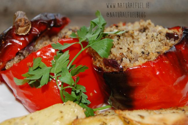 #Greek #Quinoa Stuffed Peppers - #vegan #vegetarian