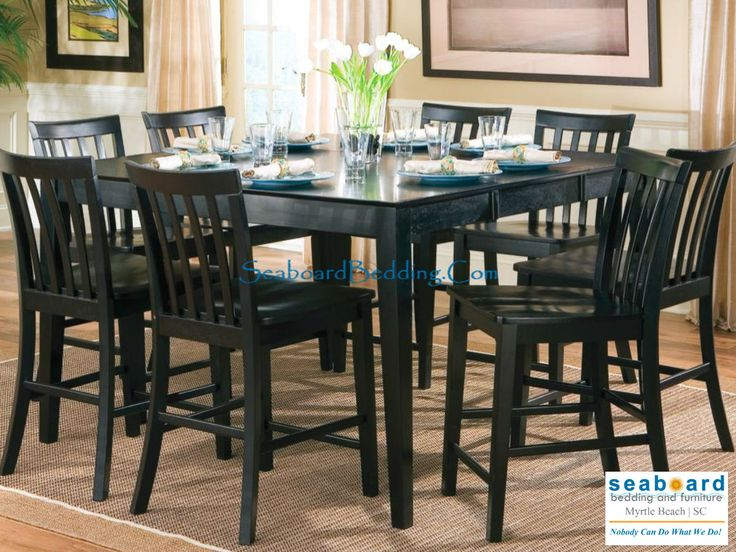 Coaster Pines Counter Height Wood Dining Table With Leaf In Black Slat Back Chair