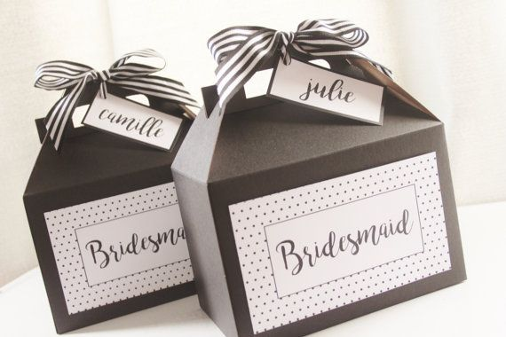 Set 10 BRIDESMAID Black and White Gable Boxes  Modern by HHpaperCO