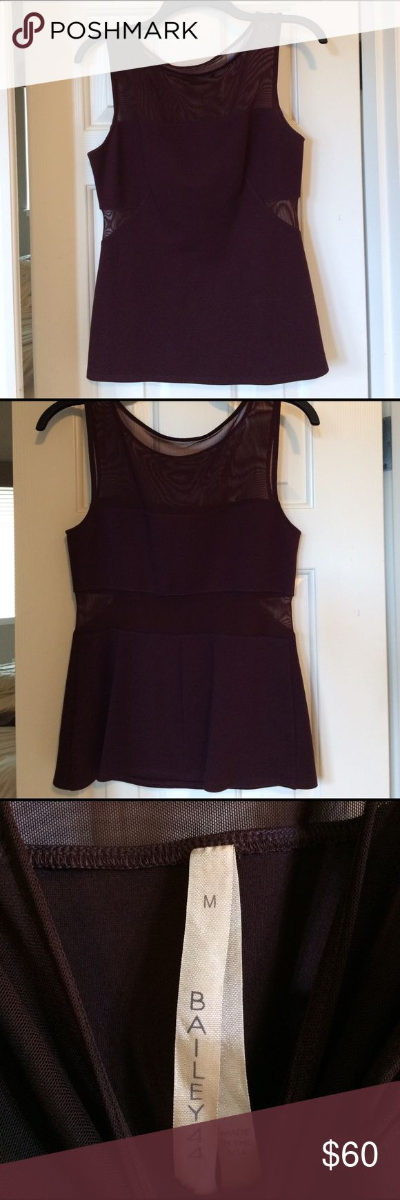 Bailey 44 Eggplant top Bailey 44 eggplant color top- mesh on sides and mesh strip in back- beautiful, perfect for a night out. Great condition Bailey 44 Tops Tank Tops