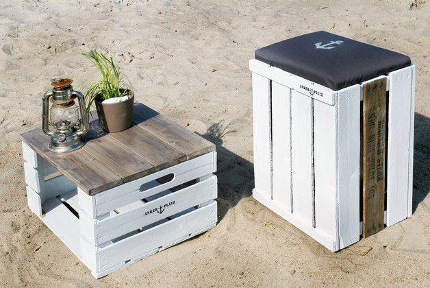 Obstkisten, Garten- und Balkondeko / fruit boxes, maritime look made by Ankerplatz Design via DaWanda.com