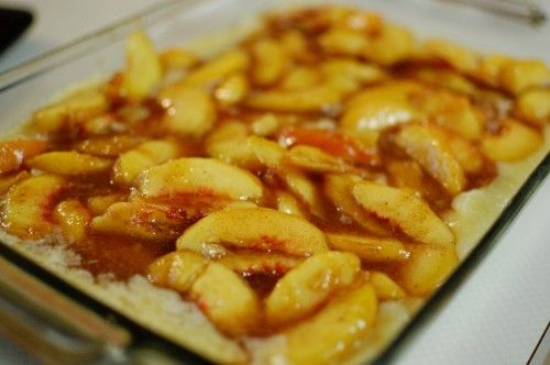 Just put this really easy gluten free peach cobbler in the oven for hubby's birthday. Used pamelas baking mix, extra cinnamon and canned peaches instead of fresh. :)