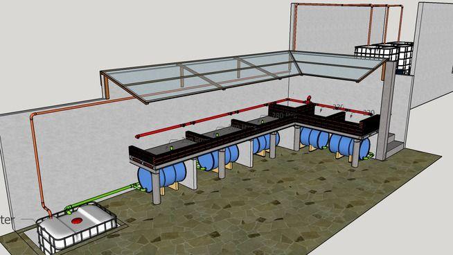 Large preview of 3D Model of Sistema Aquapônico com Canteiros de Alvenaria