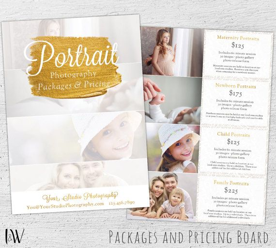 Photography Pricing Template Price Sheet List Photoshop Gui
